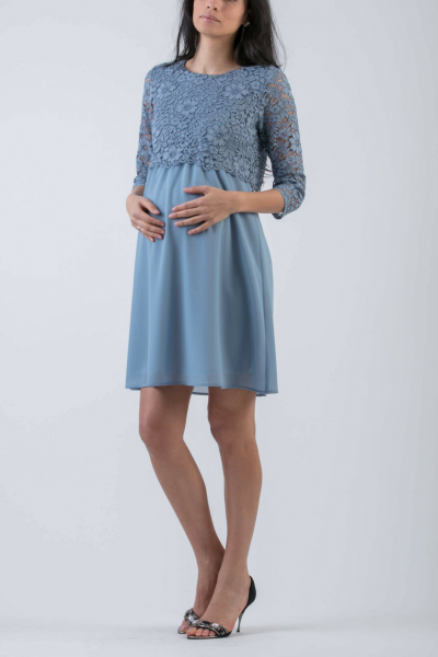 Lace and Chiffon Maternity & Nursing Dress