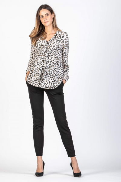 Animalier Maternity & Nursing Blouse with Front Knot
