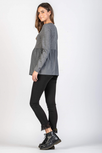 Long Sleeve A-line Maternity Top with Buttons Detail