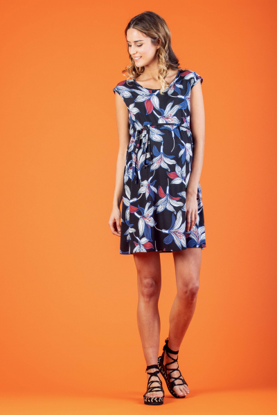 Leaf Printed Maternity Dress with Side String