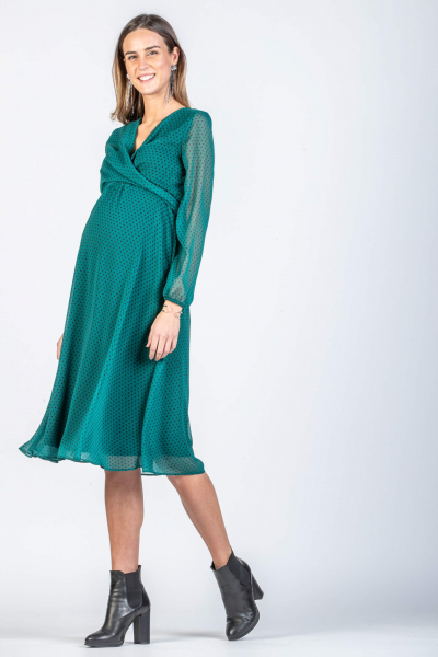 Midi Wrap Maternity & Nursing Dress with Polka Dot