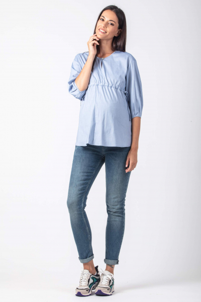 Maternity Blouse with Drawstrings and Balloon Sleeve