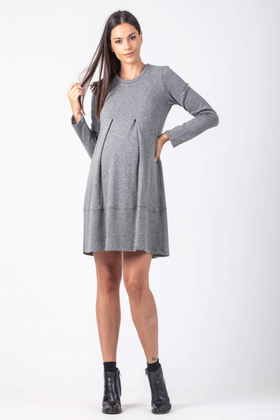 Maternity Wool Dress with Zippers