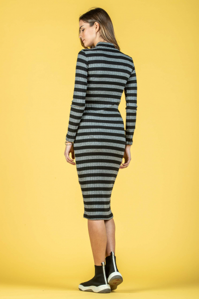 Midi Sheath Maternity Dress in Rib Knit Fabric