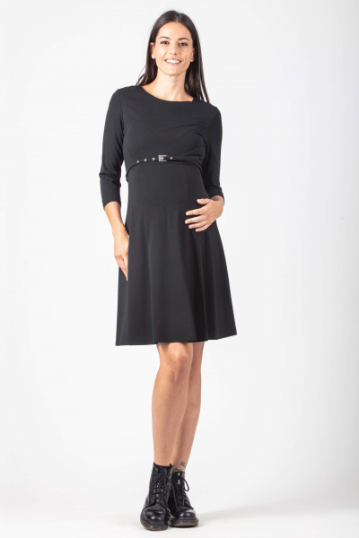 Flared Maternity Dress with Belt