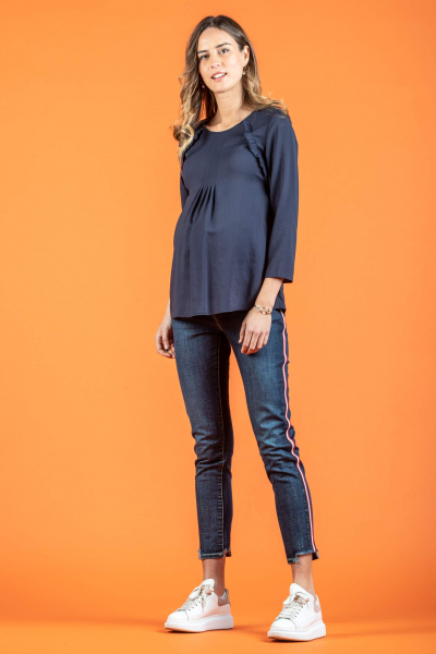 Maternity Blouse in Crepe with Frill Trims