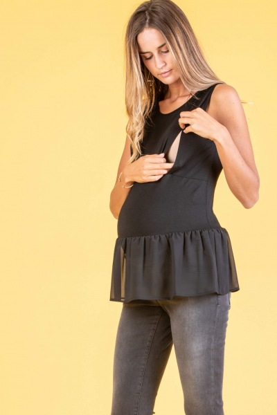 Sleeveless Maternity & Nursing Top in Stretch Jersey