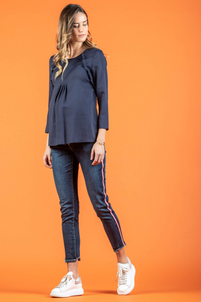 Maternity Jeans with Uneven Hem and Side Band
