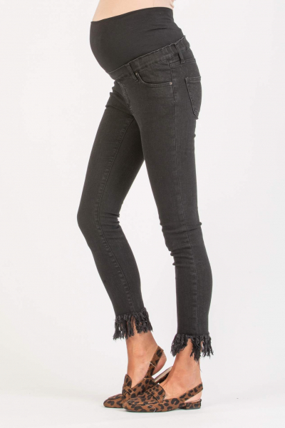 Black Fringe Frayed Maternity Jeans
