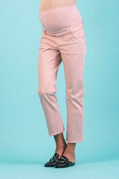 Cropped Straight Maternity Trousers with Fringed Hem