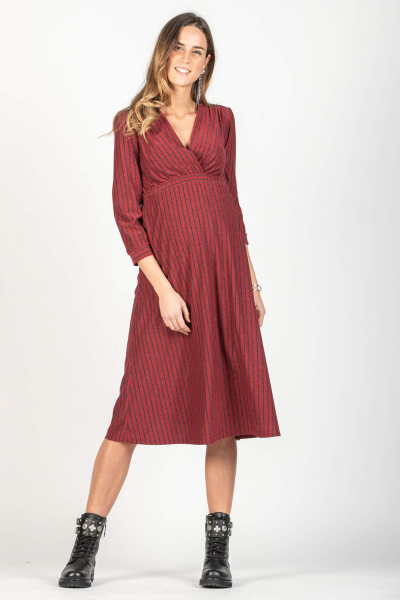 Midi Wrap Maternity & Nursing Dress in Lurex