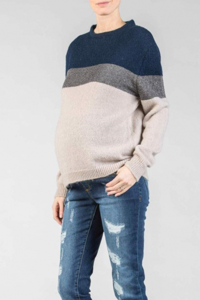 Maternity Sweater in Mixed Wool with Lurex Detail