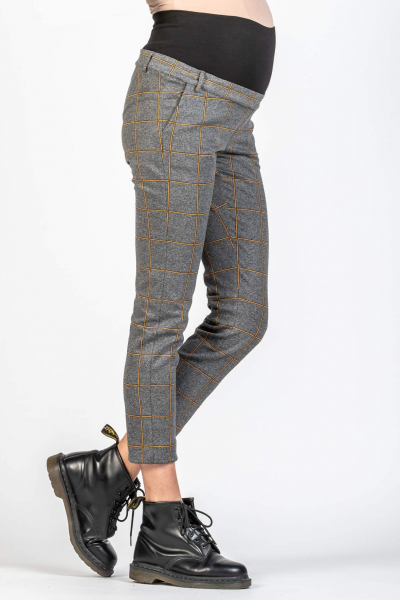 Maternity Trousers in Checked Jacquard