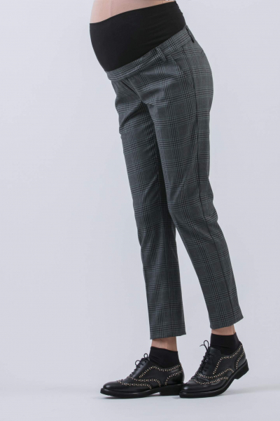 Slim Fit Tartan Maternity Trousers