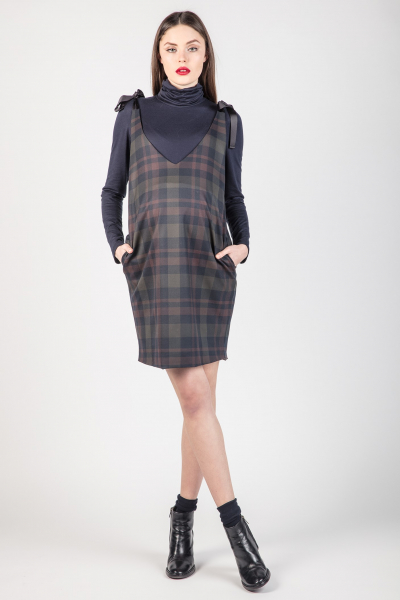 Checked Pinafore Maternity Dress