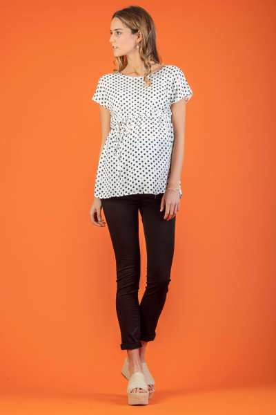 Polka Dot Maternity Top with Side String