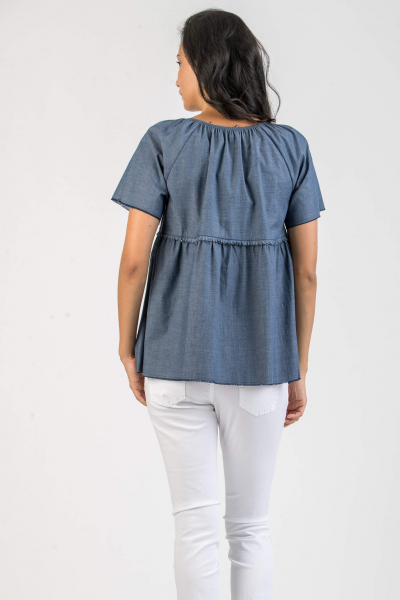 Camicetta Premaman in Chambray con Rouches
