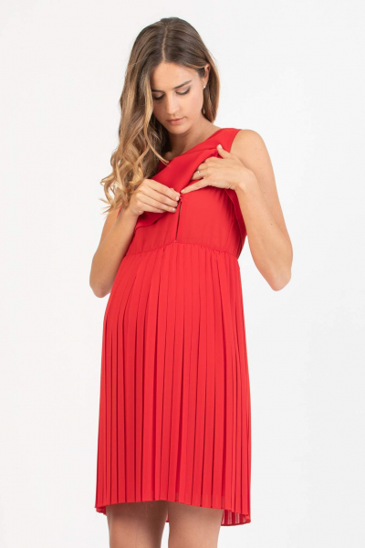 Maternity & Nursing Dress with Pleated Skirt