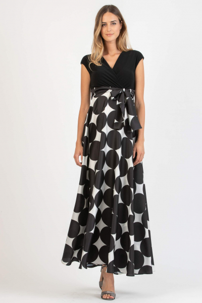 Polka Dot Long Maternity & Nursing Dress with Full Skirt