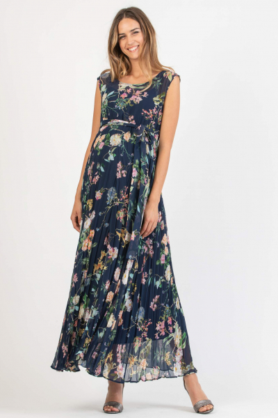 Floral Printed Long Maternity Dress with Pleated Skirt and Fabric Belt