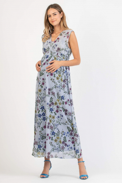 Long Maternity & Nursing Dress with Floral Print with Back Elastic Band
