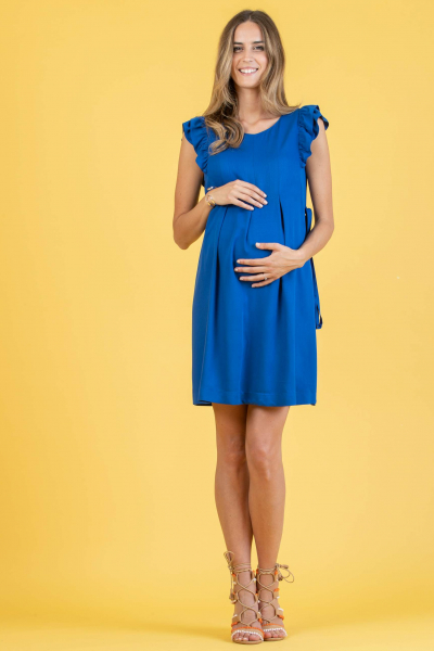 Maternity Dress with Ruffle Trims and Buttons on the Back