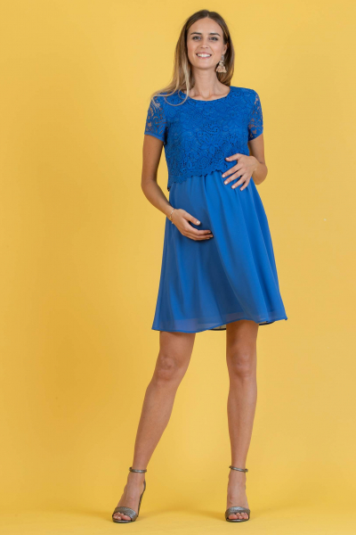Embroidered Maternity & Nursing Dress in Lace