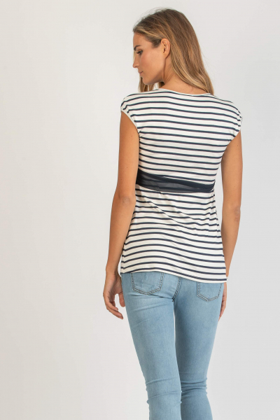 Striped Wrap Maternity and Nursing Top with Chiffon Belt
