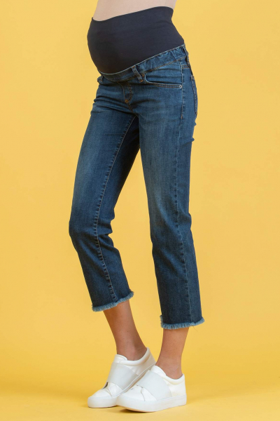 Cropped Straight Maternity Jeans in Denim with Fringed Hem