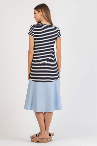 Striped Midi Maternity Dress with Flounce