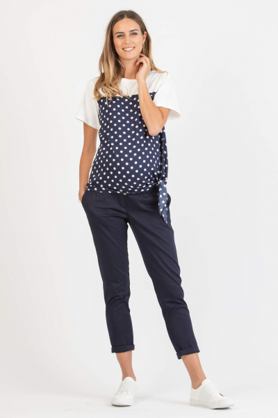 Polka Dot Maternity T-shirt with Knot on Side