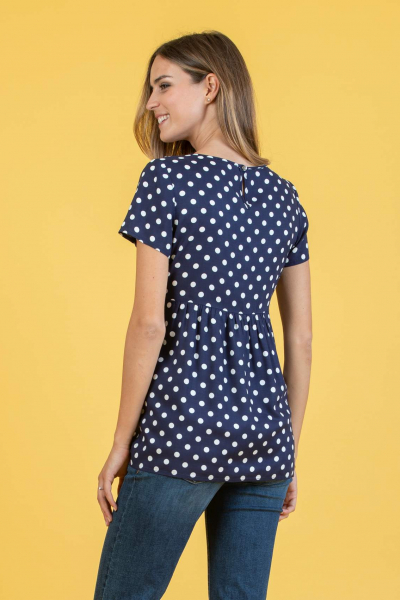 Polka Dot Printed Maternity Blouse with Gathering