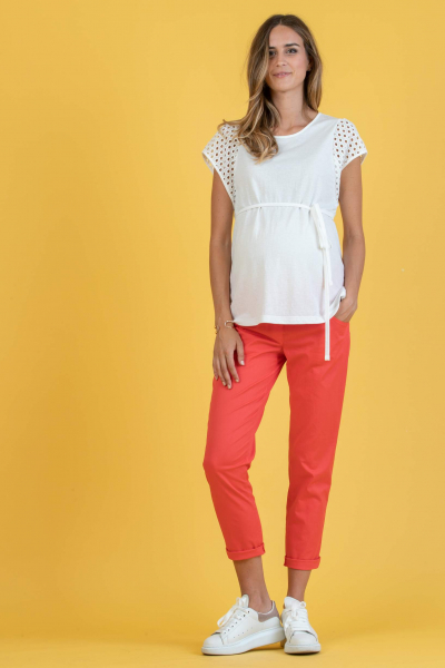 Maternity T-shirt with Sleeve in Sangallo Lace