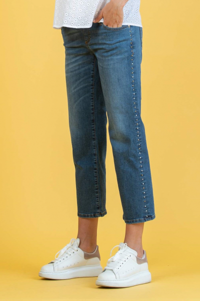 Cropped Straight Maternity Jeans with Studs and Small Pearls