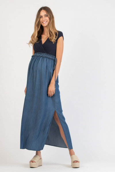 Long Empire Waist Maternity & Nursing Dress in Tencel with Elastic Band