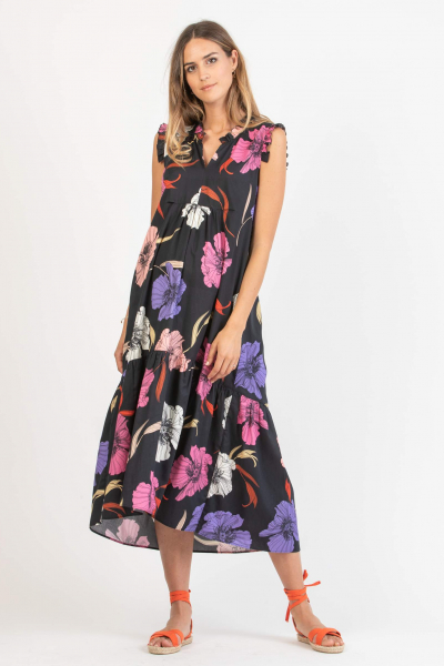 Midi Maternity Dress with Frill Trims with Floral Print