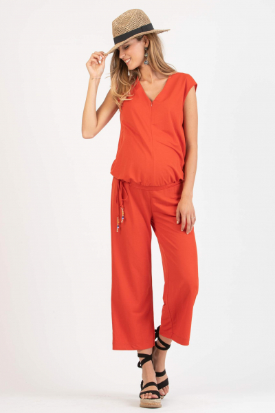 Maternity & Nursing Jumpsuit in Piqué