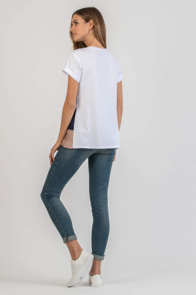 Maternity T-shirt with Front Pleated Flounces