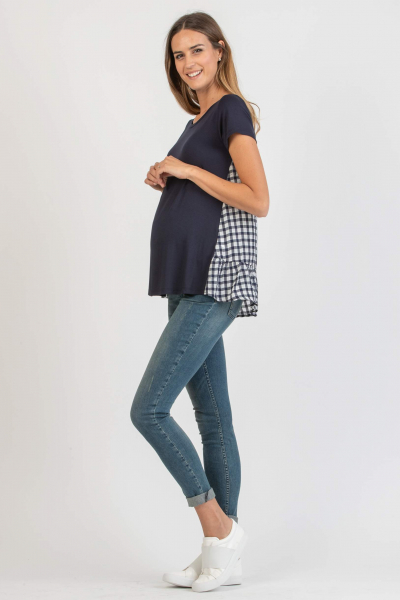 Maternity T-Shirt with Contrasting Back