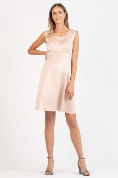 Satin Maternity Dress with Square Back Neckline