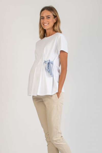 Maternity T-shirt in Cotton with Striped Ribbon