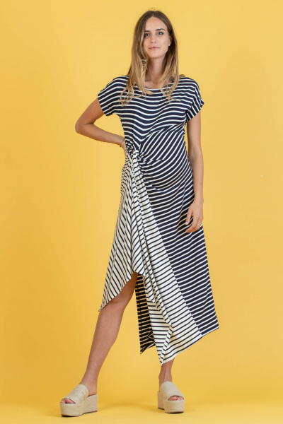 Striped Maternity Dress with Side Knot