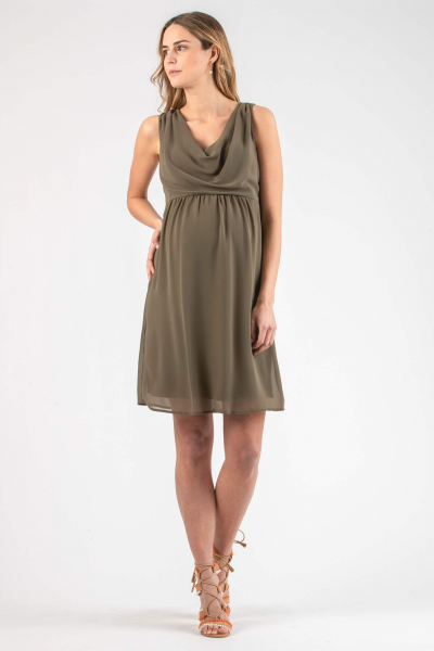 Draped Neckline Maternity Dress