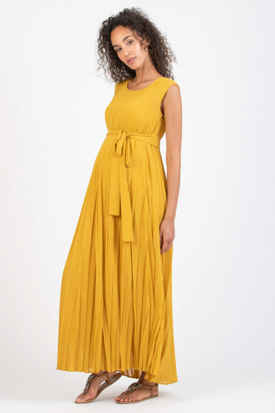 Long Maternity Dress with Pleated Skirt and Fabric Belt