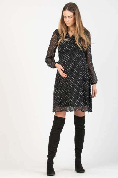 Polka Dot Wrap Maternity & Nursing Dress