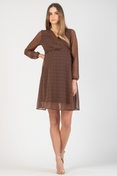 Wrap Maternity & Nursing Dress with Houndstooth Print
