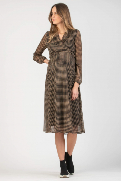 Midi Wrap Maternity & Nursing Dress with Houndstooth Print