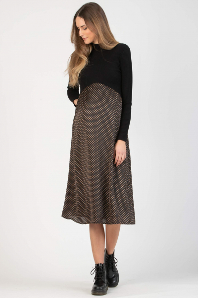 Polka Dot Midi Maternity Dress in Two Fabrics with High Neck