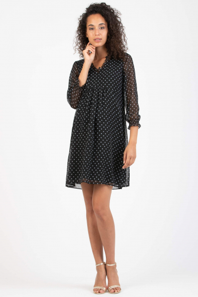 Polka Dot Maternity & Nursing Dress with Ruches