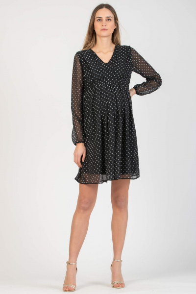Polka Dot Maternity & Nursing Dress in Chiffon